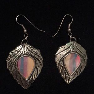 Leaf dangly earrings.